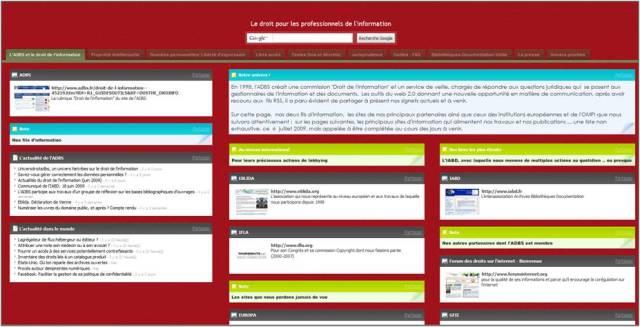 L'univers Netvibes de l'ADBS : le droit pour les professionnels de l'information