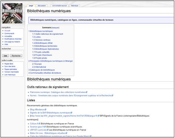 Liste des bibliothèques numériques française sur Biblopédia (cliquez sur l'image)