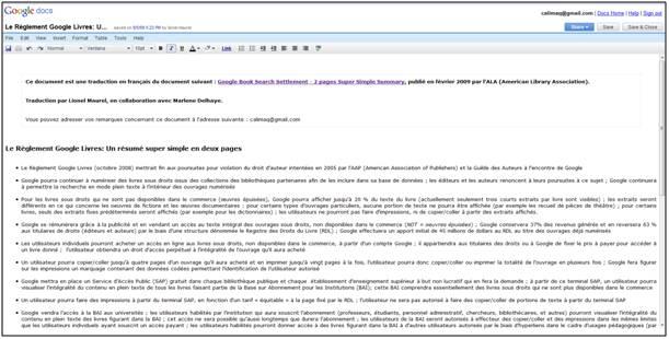 Résumé Super Simple en deux pages (et en français) de l'Accord Google Book