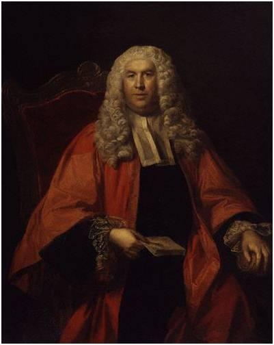 Sir William Blackstone par un artiste inconnu, 1755. Blackstone est l'un des plus fameux des avocats anglais. En tant que juriste, il a contribué à faire de la propriété l'un des droits fondamentaux de la personne humaine.