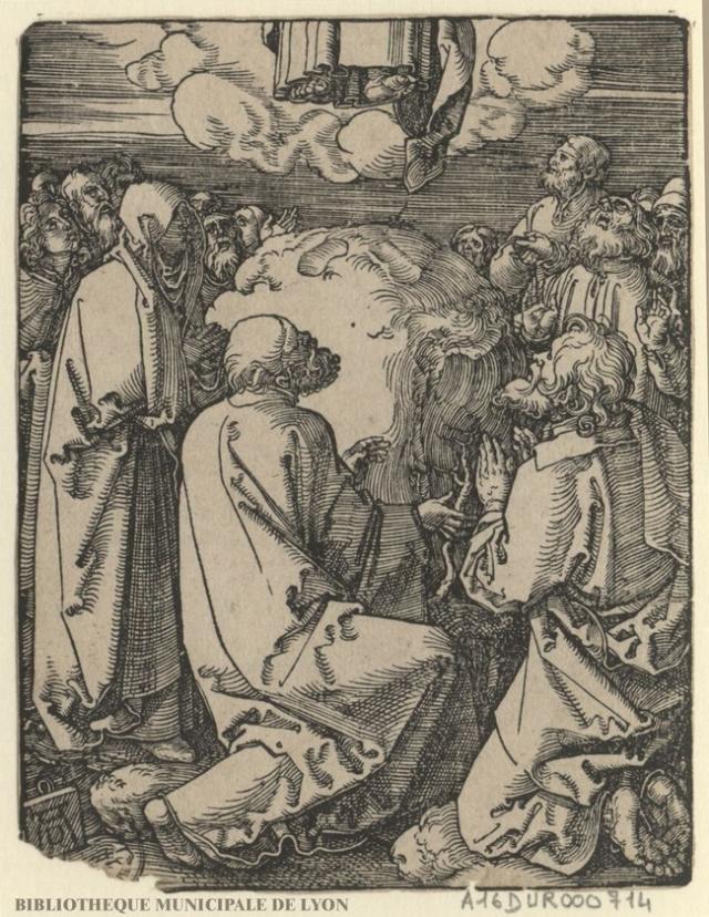 L'Ascension. Par Dürer. Source : NumeLyo, Bibliothèque municipale de Lyon. Domaine public.