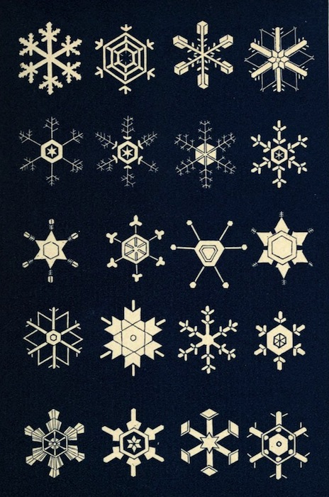 Illustration de l'ouvrage : Snowflakes: a chapter from the Book of Nature (1863) - Internet Archive - Numérisé par la California Digital Library. Domaine public.