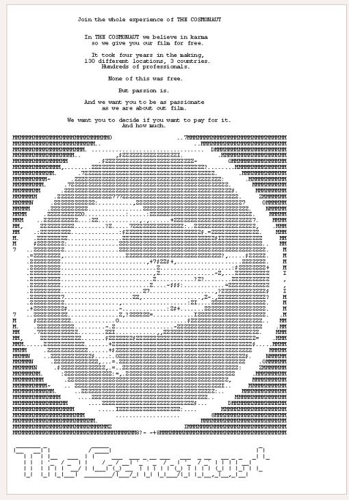 """La page de présentation du film sur The Pirate Bay avec ce message. """"Nous qui avaons fait Le Cosmonaute, nous croyons au karma. Et c'est pourquoi nous vous offrons ce film gratuitement. Il a fallu quatre ans pour lme"""