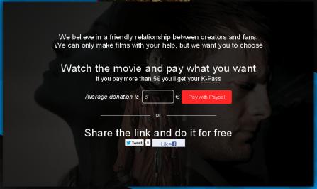 """Sur le site The Cosmonaut Experience, le film n'est pas e """"Pay per View"""", mais en """"Share per View"""". Pour le visionner gratuitement, il faut faire partager un lien sur Twitter ou Facebook."""