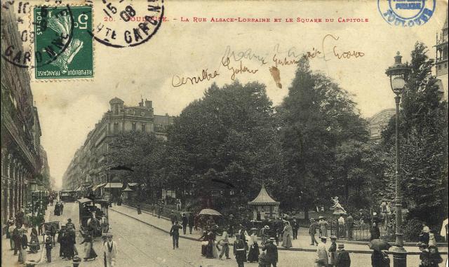 Toulouse. La rue Alsace-Lorraine et le square du Capitole. Source : Archives municipales de Toulouse.