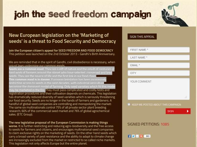 La pétition Seed Freedom à signer.